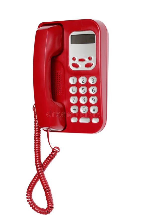 Rode Telefoon op Wit stock afbeeldingen