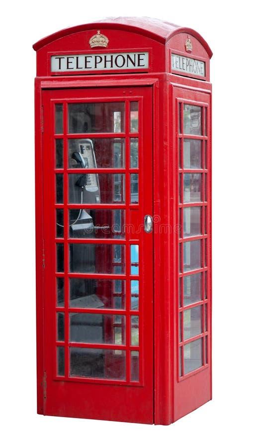 Rode telefooncel in Londen dat op wit wordt geïsoleerds stock fotografie