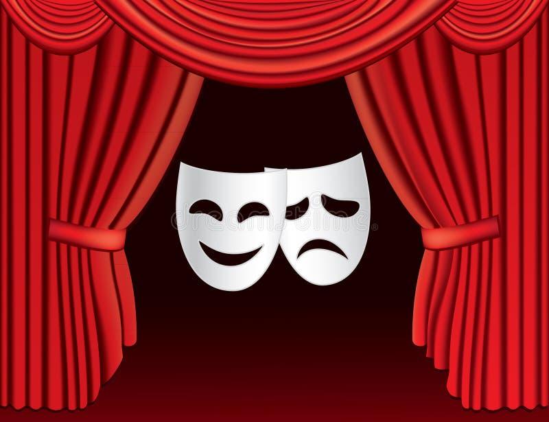 Rode theatergordijnen met maskers royalty-vrije stock afbeelding