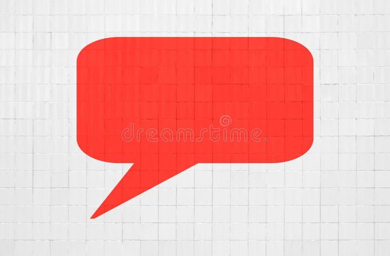 Rode toespraakbel op witte bakstenen muur vector illustratie