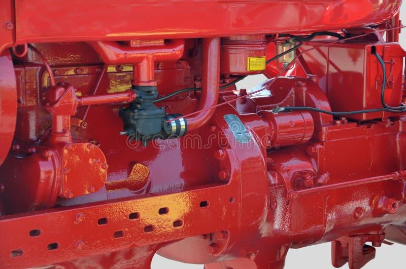 Rode tractormotor stock fotografie