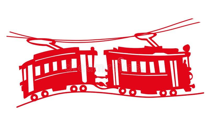 Rode tram vector illustratie