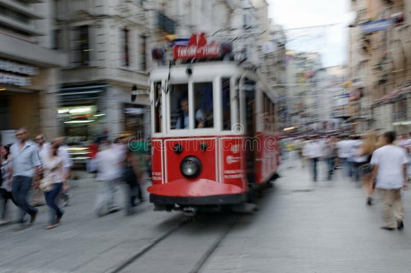 Rode trams van Istanboel royalty-vrije stock fotografie