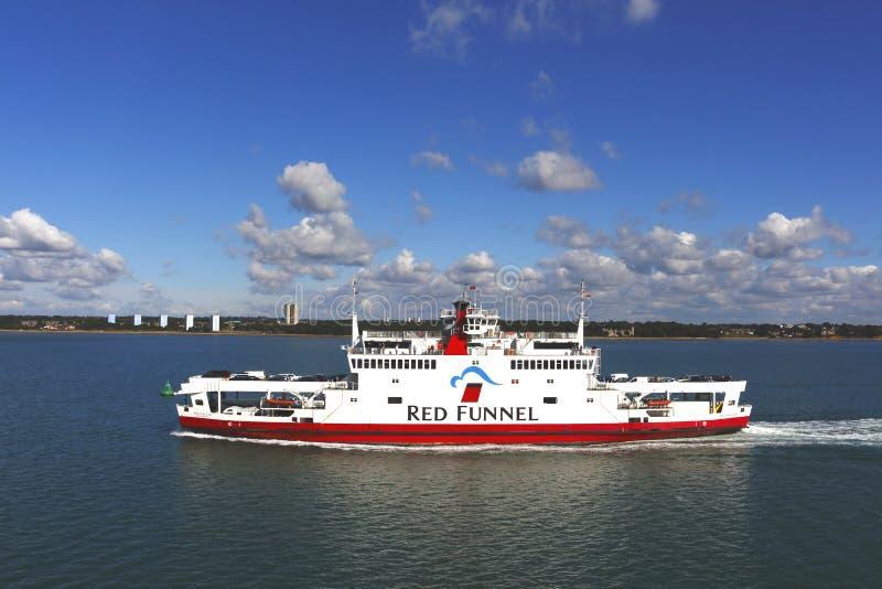 Rode Trechter (formeel het Southampton het Beperkte Eiland Wight en Zuiden van Engeland Royal Mail Steam Packet Company royalty-vrije stock foto's