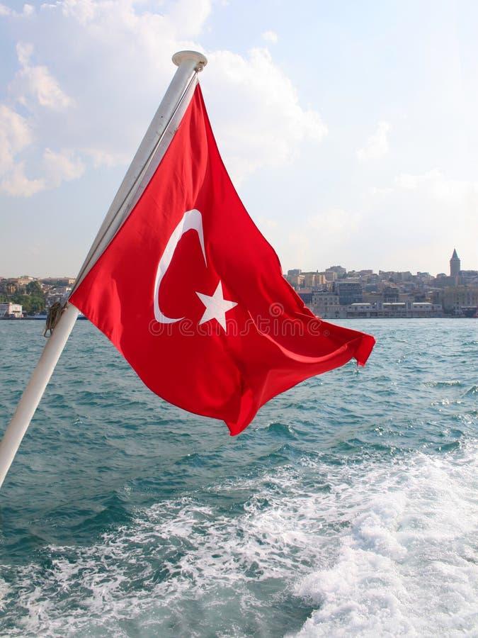 Rode Turkse Vlag royalty-vrije stock foto's