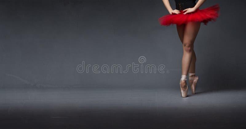 Rode tutu en tiptoe dichte omhooggaand stock fotografie