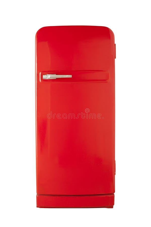 Rode uitstekende die ijskast op witte achtergrond wordt geïsoleerd stock foto