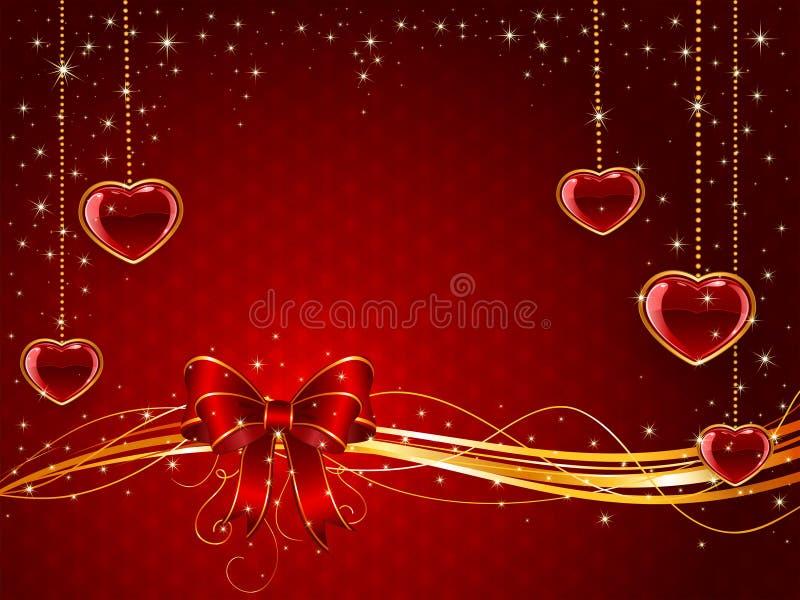 Rode Valentijnskaartenachtergrond met boog en harten royalty-vrije illustratie