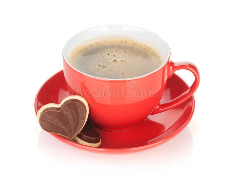 Rode van de koffiekop en chocolade koekjes royalty-vrije stock fotografie