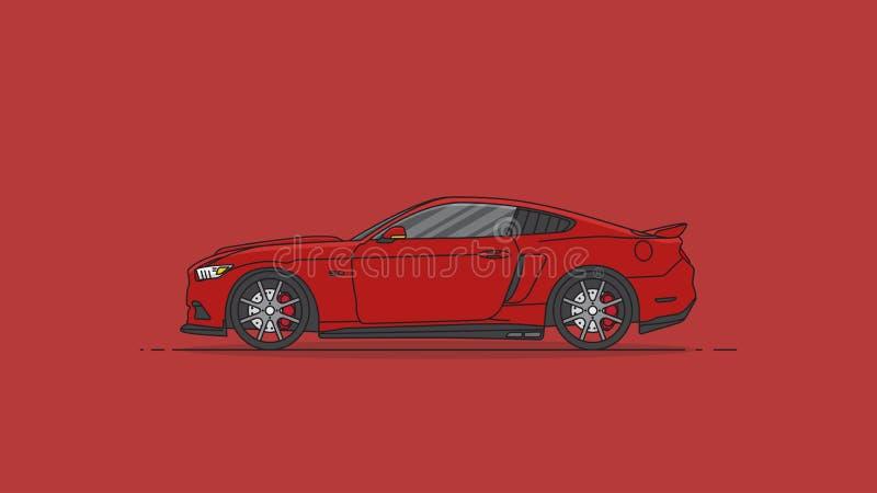 Rode van het de auto vlakke ontwerp van de sport Amerikaanse spier vectorillustratie als achtergrond royalty-vrije illustratie