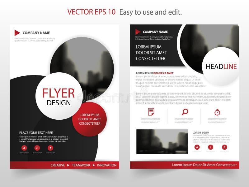 Rode van het de Brochureontwerp van het Cirkel jaarverslag het malplaatjevector Affiche van het bedrijfsvliegers de infographic t royalty-vrije illustratie