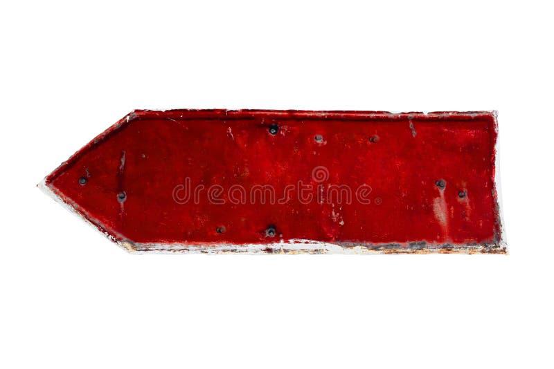 Rode van het leeg roestige en grunge de plaatpijl metaalijzer met schildeklaag en krassentextuur stock foto's