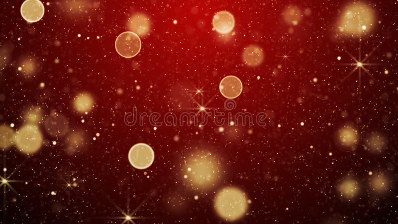 Rode van Kerstmislichten en sterren abstracte achtergrond royalty-vrije illustratie