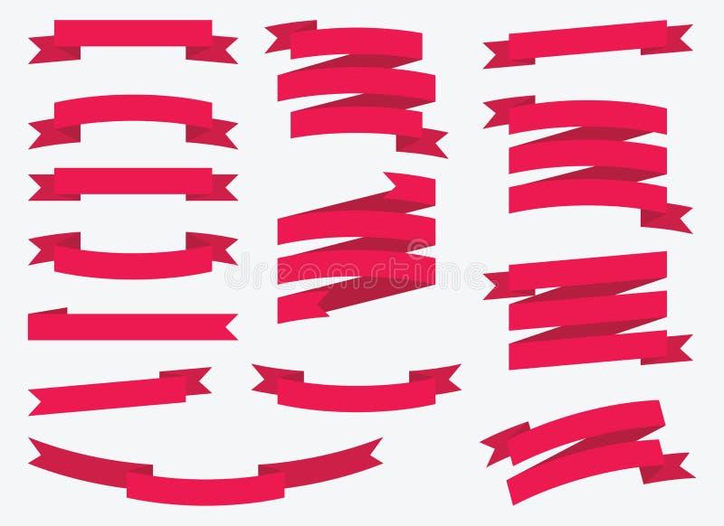 Rode vector geplaatste linten - Illustratie vector illustratie
