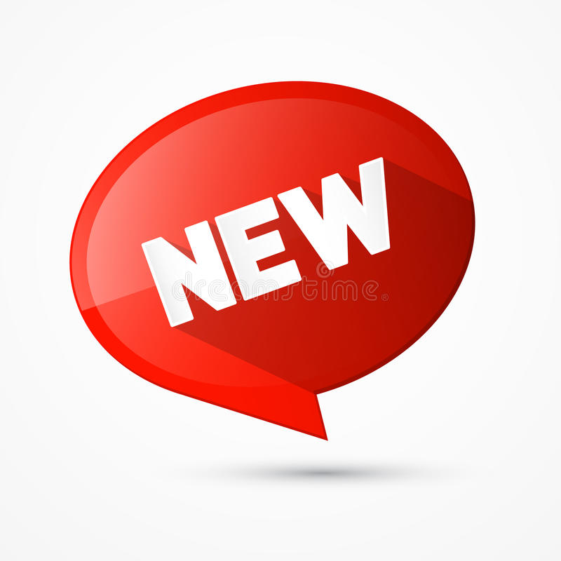 Rode Vector Nieuwe Markering, Etiket royalty-vrije illustratie