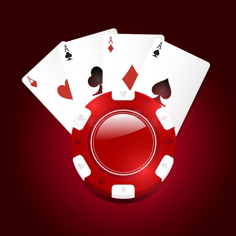 Rode vectorcasinospaander met speelkaarten royalty-vrije illustratie