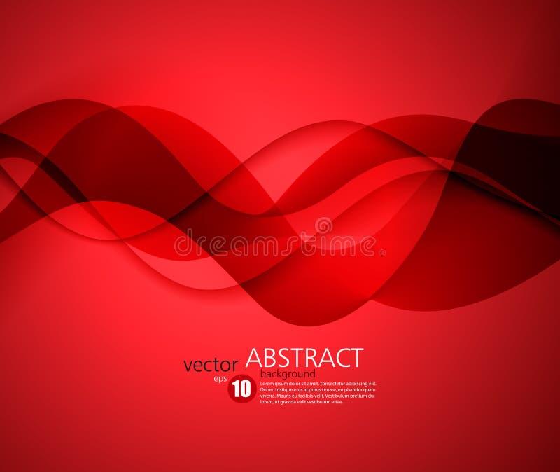 Rode vectormalplaatje Abstracte achtergrond met krommenlijnen Voor vlieger, brochure, boekje en websitesontwerp stock illustratie