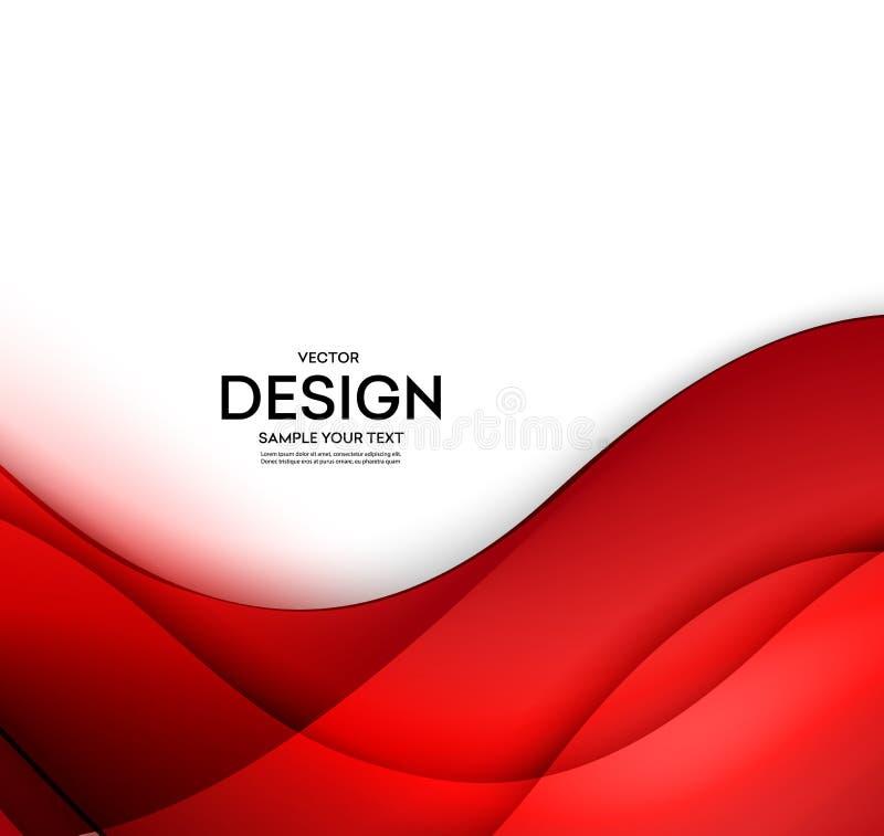 Rode vectormalplaatje Abstracte achtergrond met krommenlijnen Voor vlieger, brochure, boekje en websitesontwerp royalty-vrije illustratie