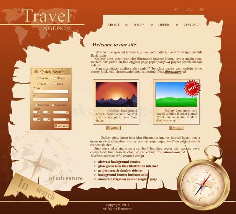 Rode VectorWebsite voor reisbureau stock illustratie