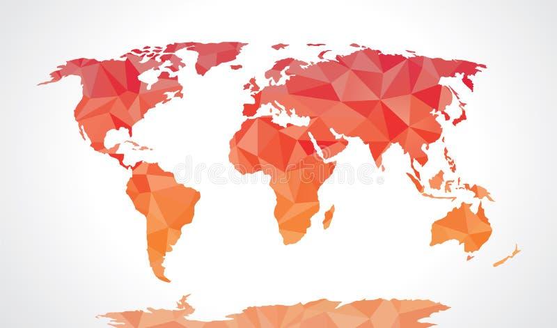 Rode veelhoekige wereldkaart stock illustratie