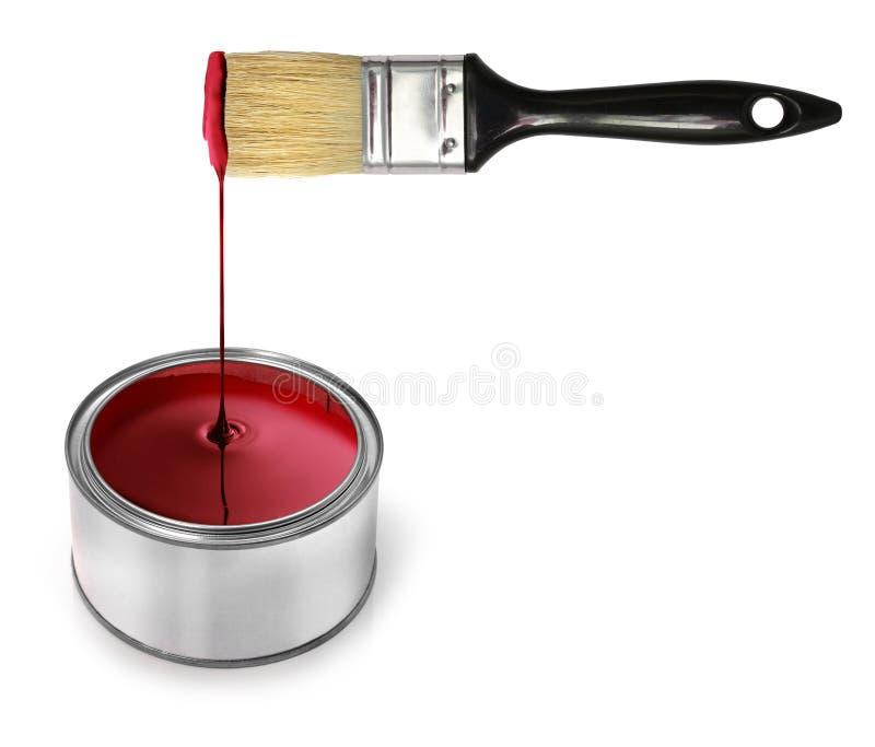 Rode verf druipende borstel royalty-vrije stock afbeeldingen