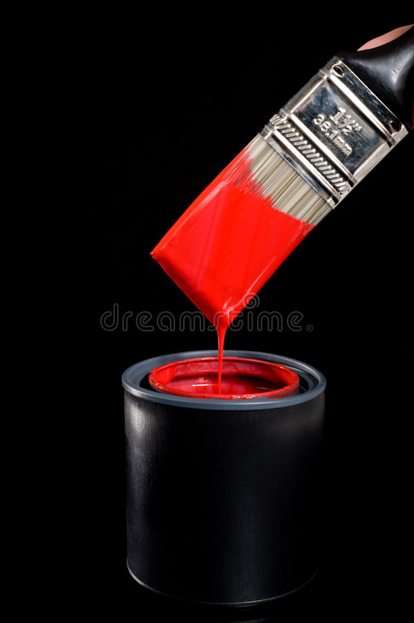 Rode Verf en Borstel stock afbeelding
