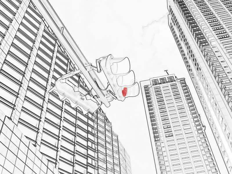 Rode verkeers lichte tekening stock illustratie