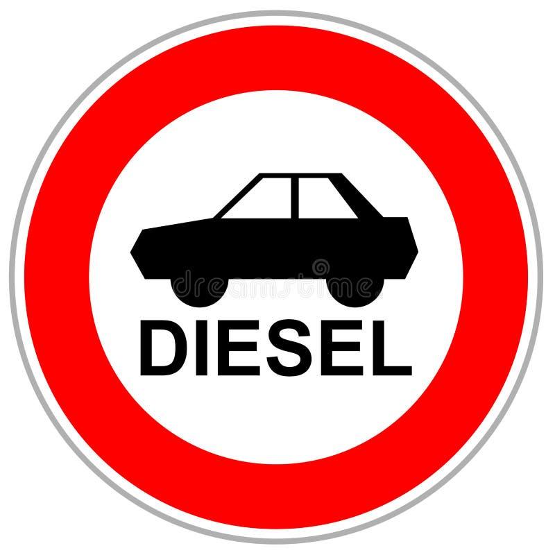Rode verkeersteken die diesel in te gaan auto's beperken royalty-vrije illustratie