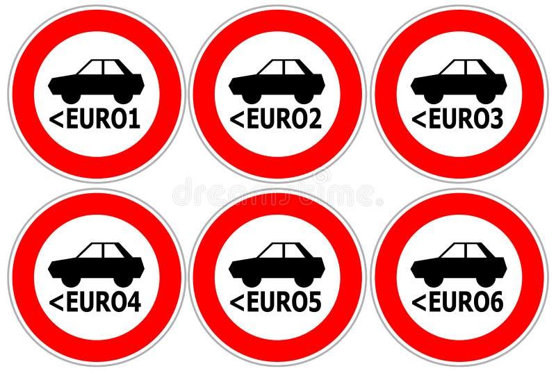 Rode verkeersteken die hoge in te gaan emissieauto's beperken stock illustratie