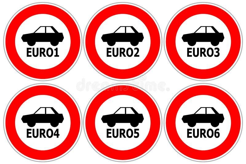 Rode verkeersteken die hoge in te gaan emissieauto's beperken vector illustratie