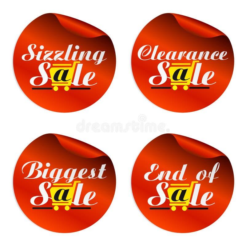 Rode verkoopstickers die, grootste ontruiming, eind van met geel boodschappenwagentje sissen royalty-vrije illustratie