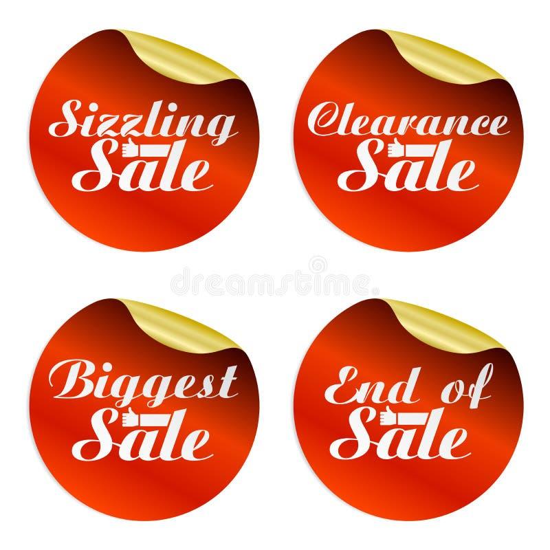 Rode verkoopstickers geplaatst sissend, grootste ontruiming, eind van met handen beste keus vector illustratie