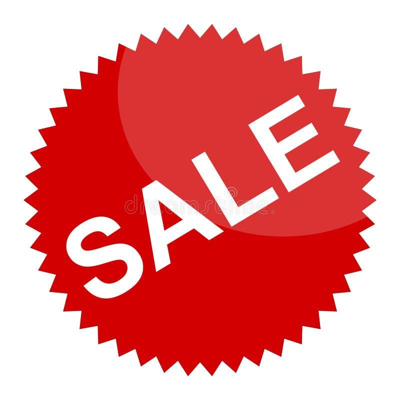 Rode verkoopteken of sticker stock fotografie