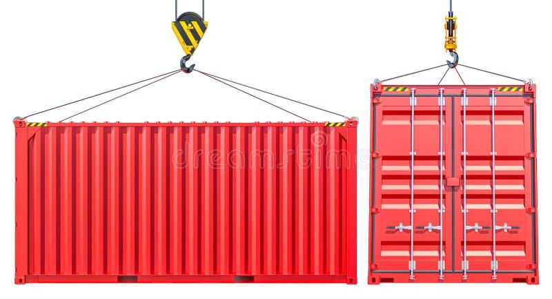 Rode Verschepende Ladingscontainer met Haak royalty-vrije illustratie