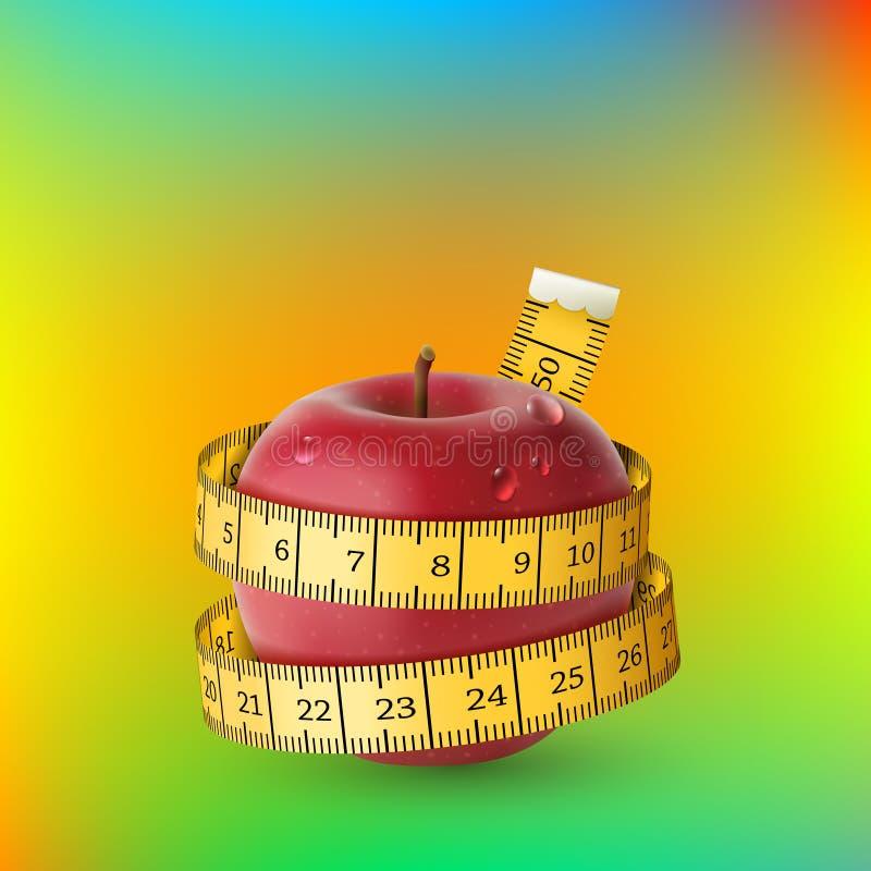 Rode verse appel met gele metende band Dieet royalty-vrije illustratie