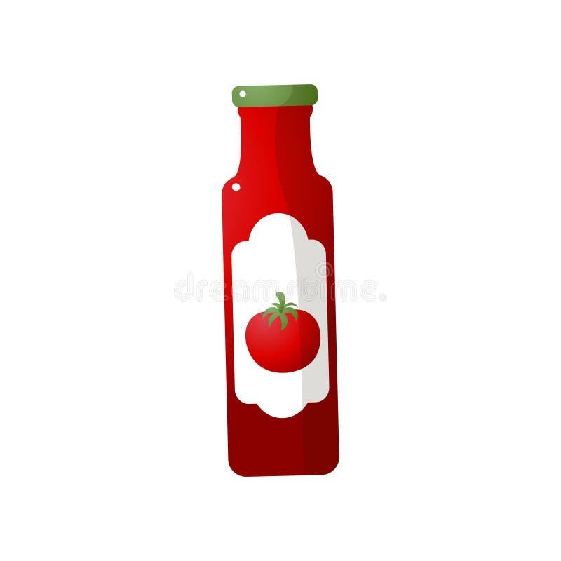 Rode verse ecoketchup van de glasfles voor keukentijd vector illustratie