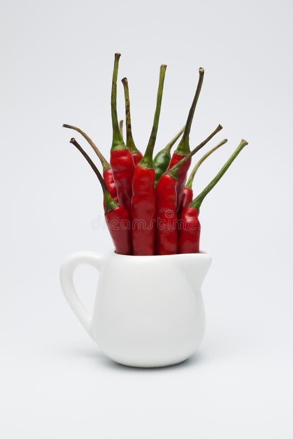 Rode verse Spaanse peperpeper in de kleine witte kruik stock foto