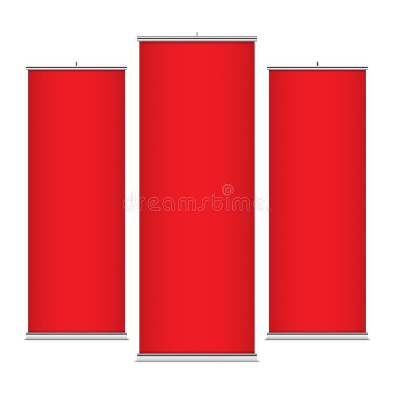 Rode verticale bannermalplaatjes royalty-vrije illustratie