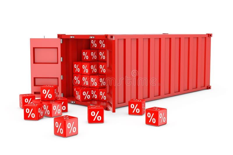 Rode Vervoer over zeecontainer met de Kubussen van Kortingspercenten 3d ren royalty-vrije illustratie