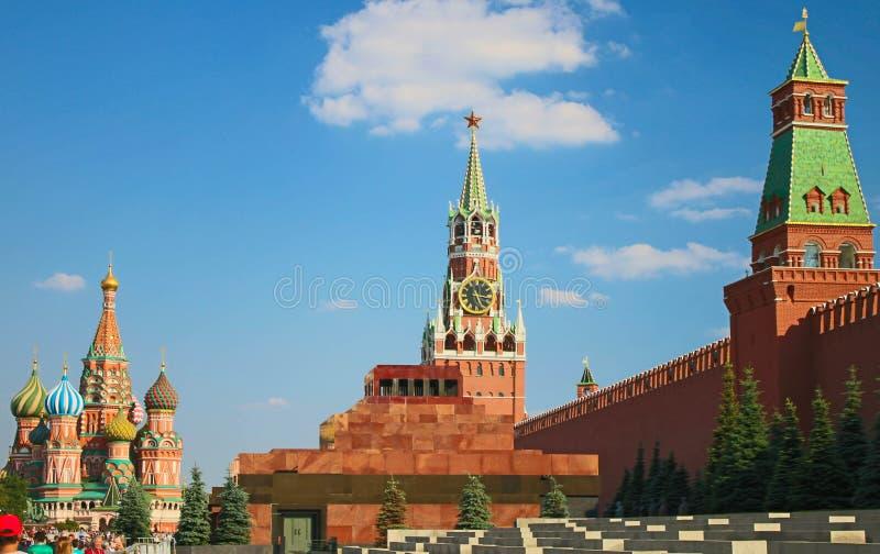 Rode Vierkante mening Moskou Rusland stock afbeeldingen