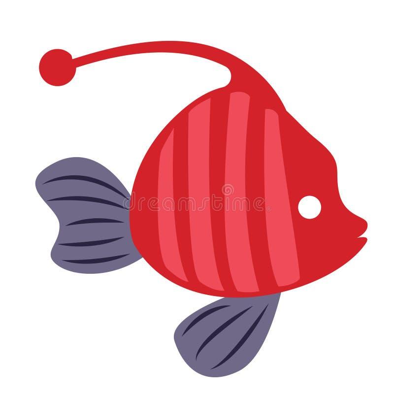 Rode vissen eenvoudige illustratie op witte achtergrond vector illustratie