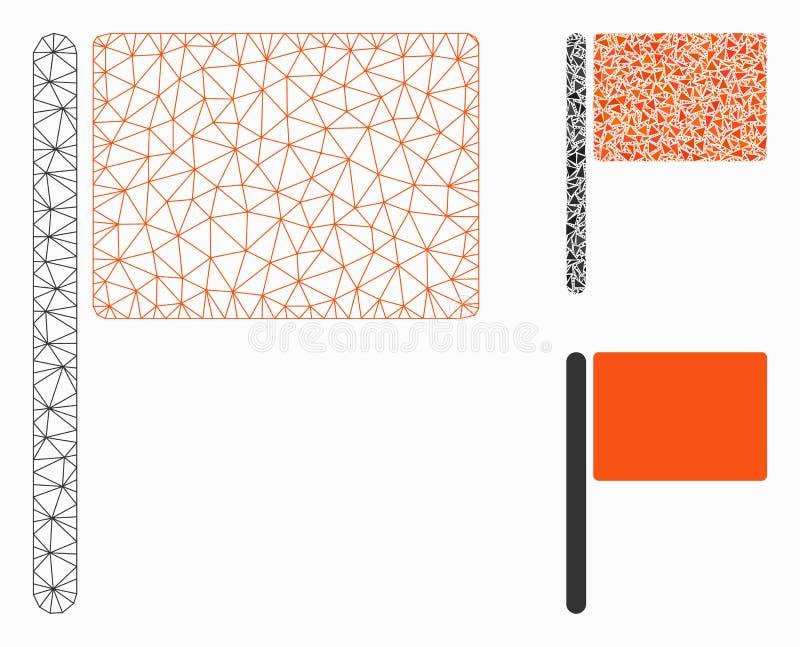 Rode Vlag Vector het Mozaïekpictogram van Mesh Network Model en van de Driehoek stock illustratie