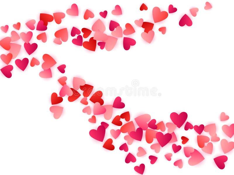 Rode vliegende de hartstochts vectorachtergrond van de harten heldere liefde stock illustratie