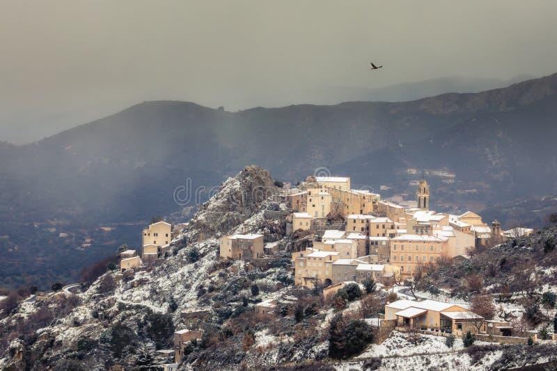 Rode Vlieger die over bergdorp stijgen van Speloncato in Corsica royalty-vrije stock fotografie