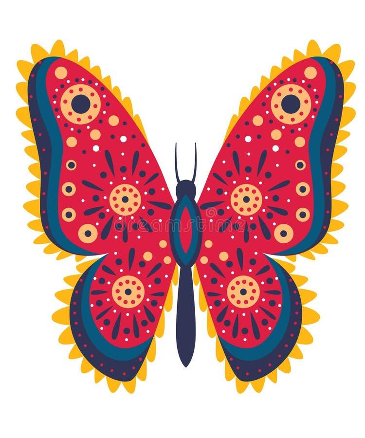Rode vlinder met abstract patroon Vector illustratie die op witte achtergrond wordt geïsoleerdd royalty-vrije illustratie