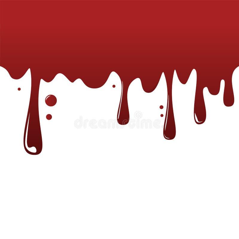 Rode vloeistofdruppel op de wandvector geïsoleerd Blob en vallen stock illustratie