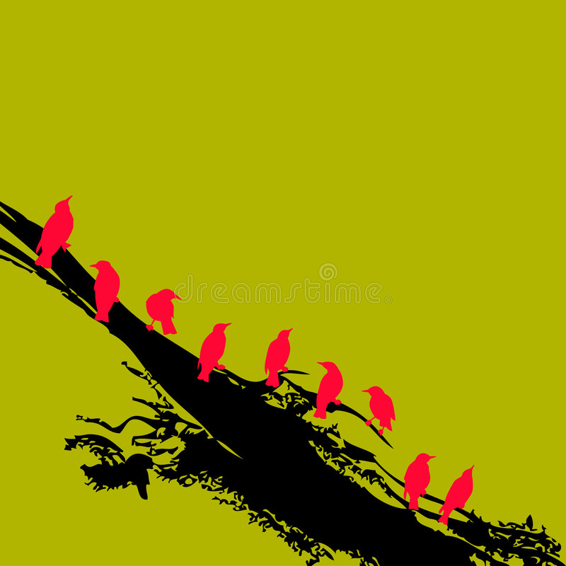 Rode vogels op tak royalty-vrije illustratie