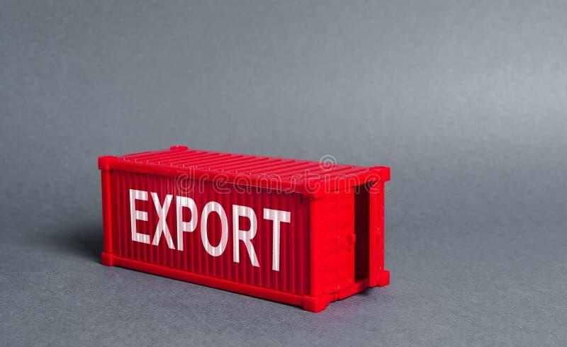 Rode vrachtcontainer met het woord Export. Het begrip buitenlandse handel en goederenvervoer, levering, scheepvaart stock afbeeldingen