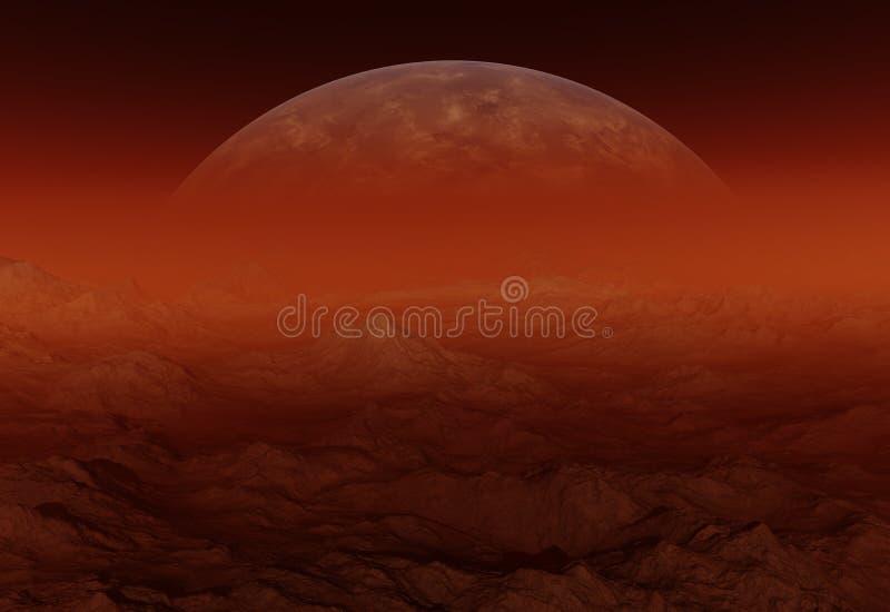Rode Vreemde Planeet - 3D Teruggegeven Computerkunstwerk royalty-vrije illustratie