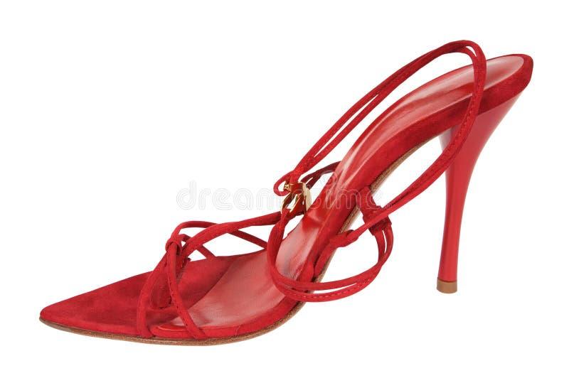 Rode vrouwelijke schoenen stock afbeelding